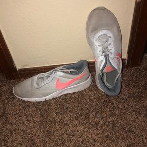 Grey and Coral Nike running shoes